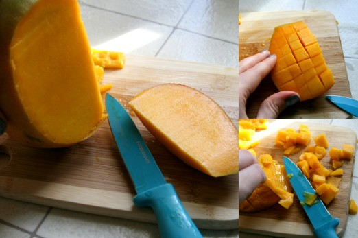 To cut your mango, first cut a chunk off the side of your mango (not down the middle). Then score the mango using your knife, and scrape out the small chunks of mango off the skin.